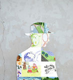 Silhueta de desenhos das crianças. Imagens de Stock Royalty Free