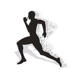 Silhueta de desmoronamento do atleta running Foto de Stock