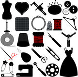 Silhueta de ferramentas Sewing Fotografia de Stock Royalty Free