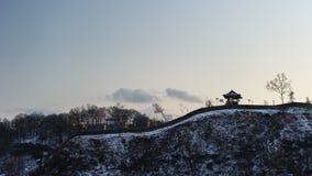Silhueta de Gongsanseong Fotografia de Stock Royalty Free