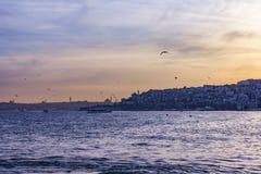 Silhueta de Istambul no por do sol Imagens de Stock