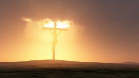 Silhueta de Jesus com cruz Fotografia de Stock