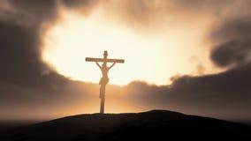Silhueta de Jesus com cruz Foto de Stock