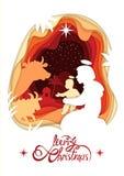 Silhueta de Madonna Santa Maria e bebê Jesus Christ Lettering Merry Christmas Imagem de Stock Royalty Free