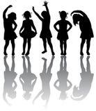 Silhueta de meninas pequenas imagem de stock