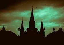 Silhueta de Nova Orleães de Saint Louis Cathedral de Nova Orleães Imagens de Stock