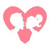 Silhueta de pares de beijo na luz - coração cor-de-rosa ilustração stock