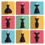 Silhueta de poucos ícones dos vestidos de partido do preto ilustração stock