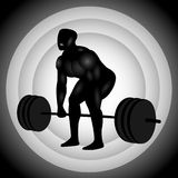 Silhueta de Powerlifter Deadlift Fotos de Stock Royalty Free