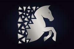 Silhueta de prata do cavalo no fundo escuro ilustração do vetor