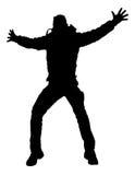 Silhueta de salto do homem feliz ilustração do vetor