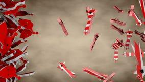 Silhueta de Santa Claus com a estrela listrada vermelha e branca do cometa ilustração stock