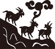 A silhueta de três cabras Fotografia de Stock Royalty Free