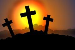 Silhueta de três cruzes Fotografia de Stock Royalty Free