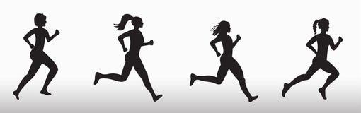 Silhueta de três mulheres de corrida ilustração stock