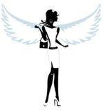 Silhueta de um anjo bonito da jovem mulher Foto de Stock