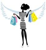 Silhueta de um anjo bonito da jovem mulher com Fotografia de Stock Royalty Free