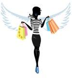 Silhueta de um anjo bonito da jovem mulher com ilustração royalty free
