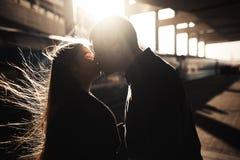 Silhueta de um beijo dos pares Imagens de Stock Royalty Free