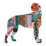 Silhueta de um cão com os projetos irlandeses Imagens de Stock