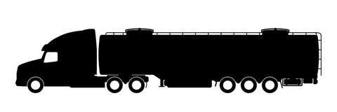 Silhueta de um caminhão com um reboque Fotografia de Stock Royalty Free