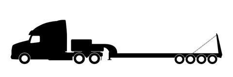 Silhueta de um caminhão com um reboque Fotos de Stock