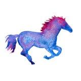 Silhueta de um cavalo Isolado Ilustração da aguarela Imagens de Stock