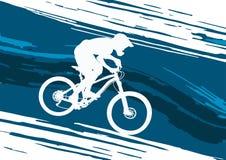 Silhueta de um ciclista que monta um Mountain bike Imagem de Stock Royalty Free