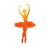 Silhueta de um dançarino ballet watercolor Imagens de Stock Royalty Free