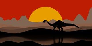 Silhueta de um dinossauro na noite do por do sol com um vulcão e as montanhas na ilustração do fundo 3D ilustração stock
