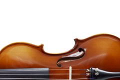 Silhueta de um foco seletivo do violino fotografia de stock