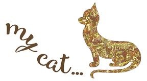 Silhueta de um gato e da inscrição de meu gato Vetor sobre Imagens de Stock Royalty Free