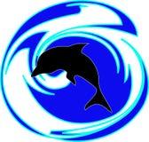 Silhueta de um golfinho Fotos de Stock Royalty Free