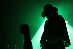 Silhueta de um guitarrista na fase com um chapéu de vaqueiro com o punho do fã na frente do refletor verde Foto de Stock