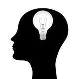 Silhueta de um homem com uma lâmpada principal Fotografia de Stock