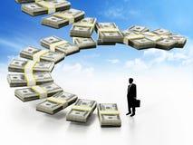 Silhueta de um homem de negócios pelos dólares que formam escadas ilustração 3D Imagens de Stock