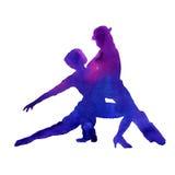 Silhueta de um homem e de um tango da dança da mulher Isolado waterco Fotos de Stock