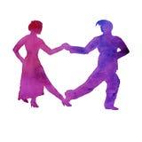 Silhueta de um homem e de um tango da dança da mulher Isolado waterco Fotografia de Stock