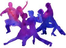 Silhueta de um homem e de um tango da dança da mulher Isolado waterco Imagem de Stock