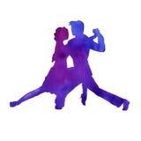 Silhueta de um homem e de um tango da dança da mulher Isolado waterco Imagens de Stock