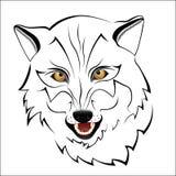 Silhueta de um lobo em um fundo branco ilustração stock