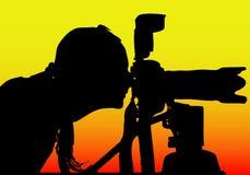 Silhueta de um menina-fotógrafo (formato do EPS disponível) Imagem de Stock