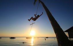 Silhueta de um menino que pendura de uma árvore de coco que balança ao redor na praia com o sol atrás do seu para trás Imagens de Stock