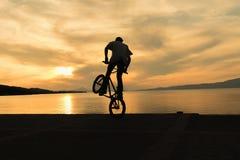 Silhueta de um motociclista do bmx Foto de Stock