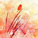 Silhueta de um pássaro e de plantas Foto de Stock