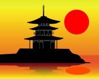 Silhueta de um pagoda Imagens de Stock Royalty Free