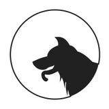 Silhueta de um pastor alemão de cabeça de cão Fotos de Stock Royalty Free