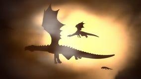 Silhueta de um rebanho de Dragon Flying Against o Sun que acena suas asas
