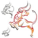 Silhueta de um touro taurus Fotografia de Stock Royalty Free