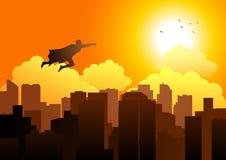 Silhueta de um voo do super-herói na arquitetura da cidade ilustração do vetor